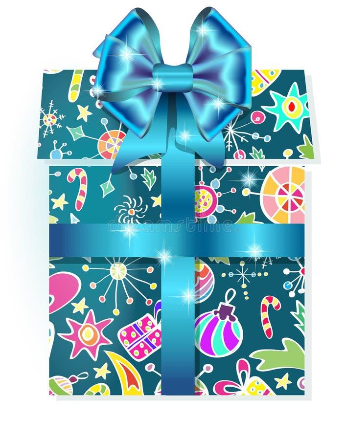 Caixa de presente com teste padrão do feriado