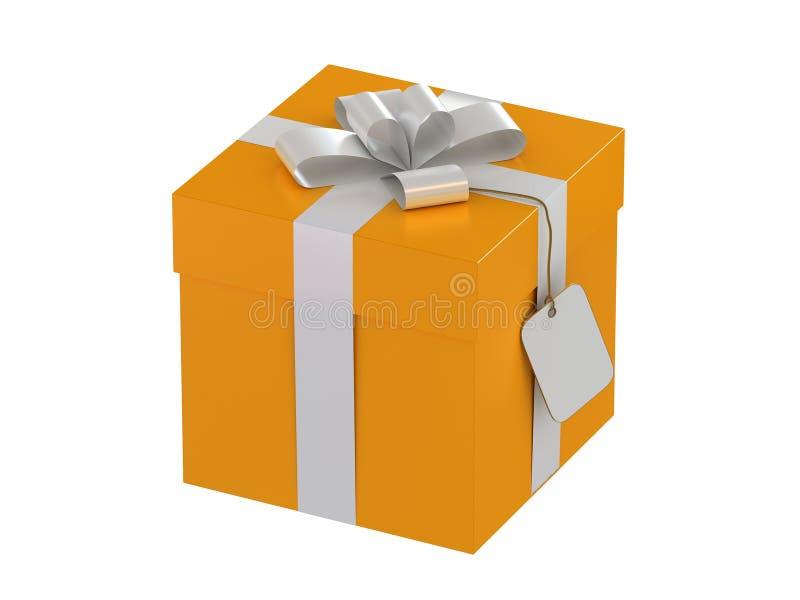 Caixa de presente com uma etiqueta imagem de stock royalty free