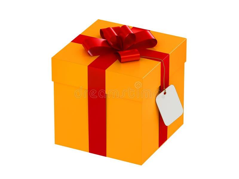 Caixa de presente com uma etiqueta fotografia de stock
