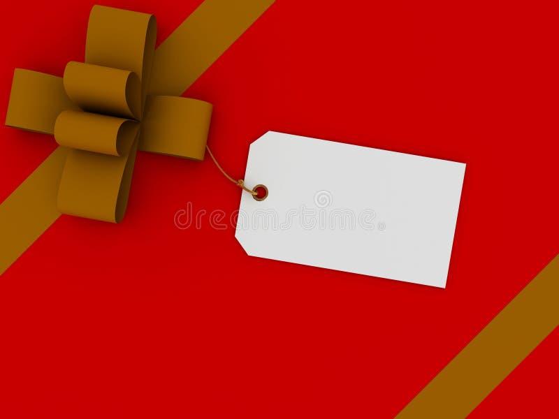 Caixa de presente com uma etiqueta ilustração royalty free