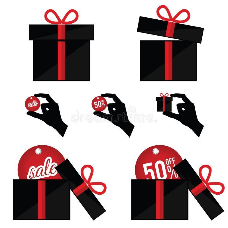 Caixa de presente com venda do verão na ilustração de cor preta e vermelha ilustração royalty free