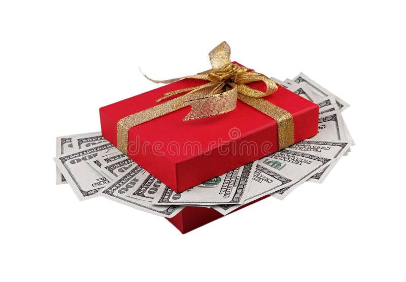 Caixa de presente completamente do dinheiro fotografia de stock