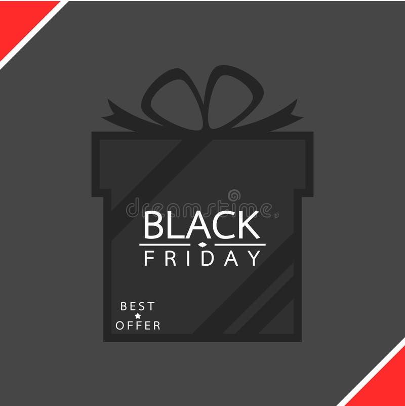 Caixa de presente, conceito da venda de Black Friday ilustração stock
