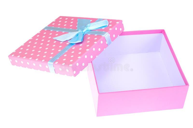 Caixa de presente cor-de-rosa com curva azul foto de stock royalty free