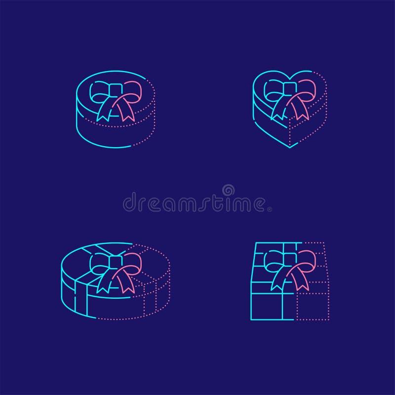 Caixa de presente 3d isométrica com linha ajustada ilustração do traço do curso do esboço do ícone da sombra do projeto isolada n ilustração stock