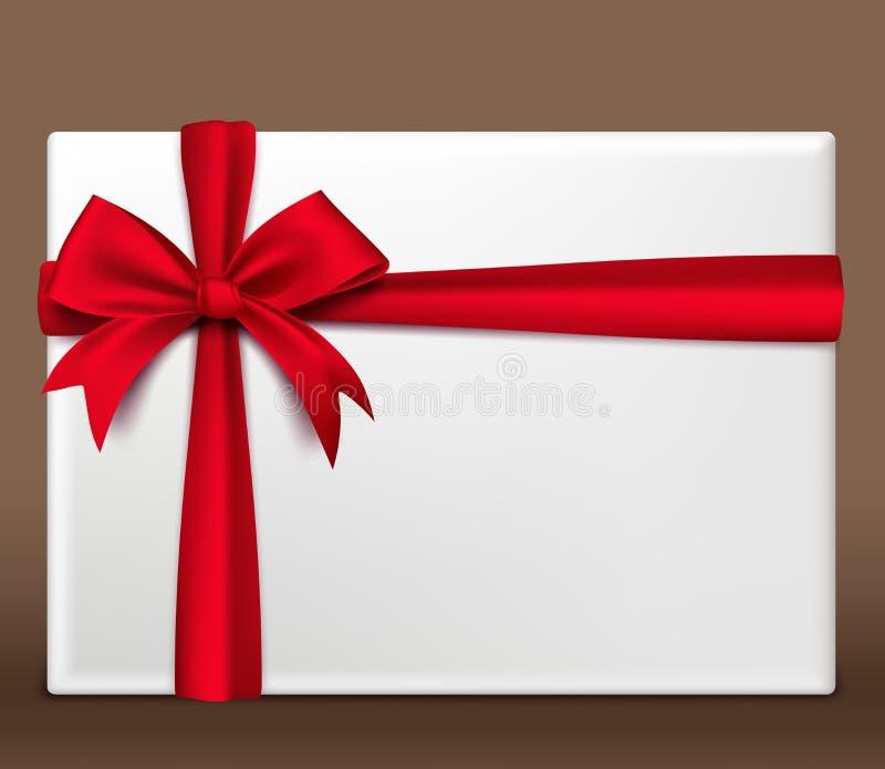 Caixa de presente 3D vermelha colorida realística envolvida com fita do cetim ilustração stock
