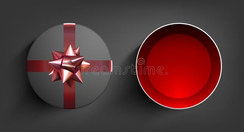 Caixa de presente da surpresa Fita atual do vetor Ilustração da celebração do aniversário com curva vermelha Fundo do Natal ilustração royalty free
