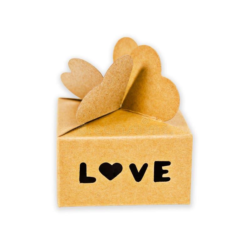 Caixa de presente de Brown com palavra do amor isolada foto de stock
