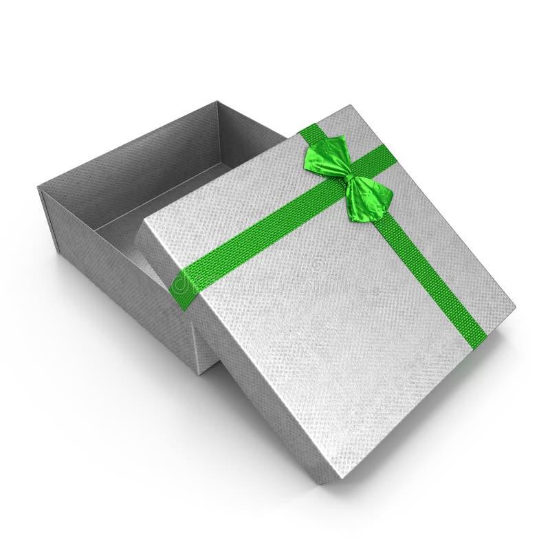 Caixa de presente de prata vazia no branco ilustração 3D ilustração stock