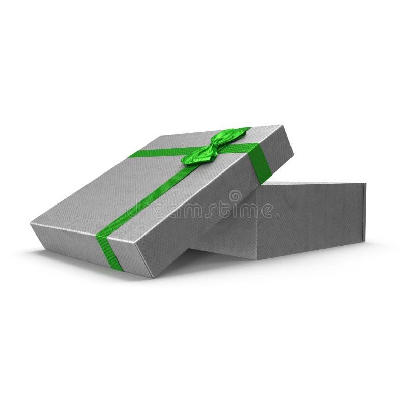 Caixa de presente de prata vazia no branco ilustração 3D ilustração royalty free