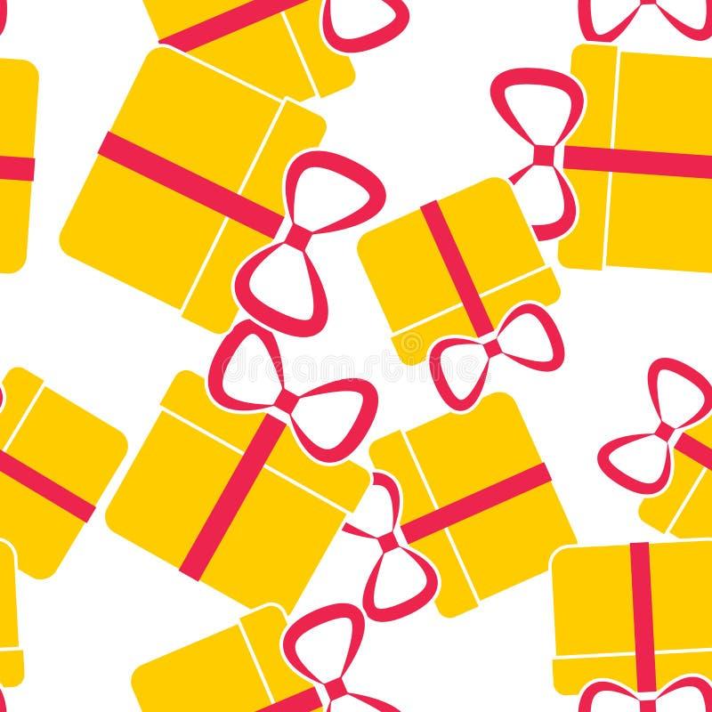 Caixa de presente do ?cone do vetor Felicitações no feriado, caixa com um teste padrão sem emenda da curva em um fundo branco ilustração royalty free