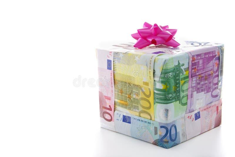 Caixa de presente do dinheiro fotos de stock