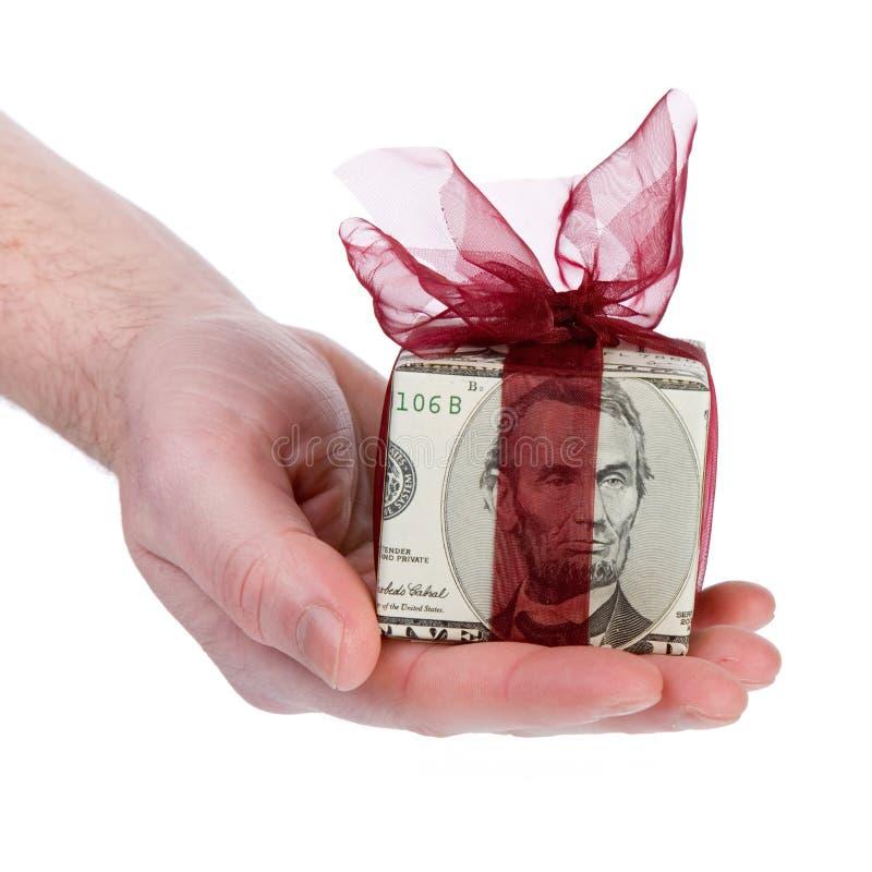 Caixa de presente do dinheiro de 5 dólares imagens de stock