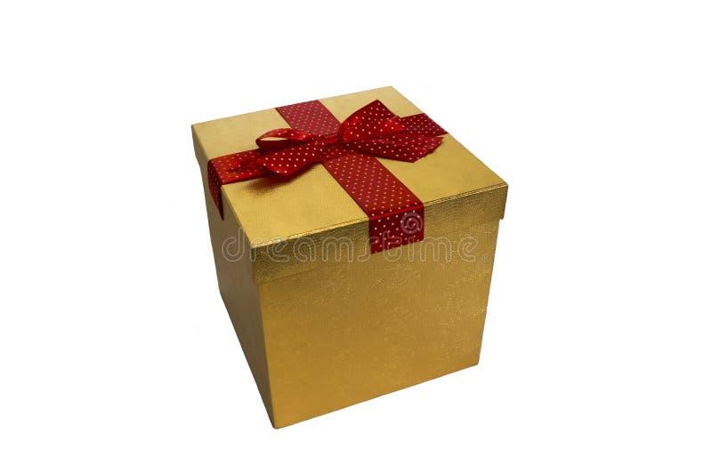 Caixa de presente do Natal do ano novo isolada em um fundo branco fotografia de stock royalty free
