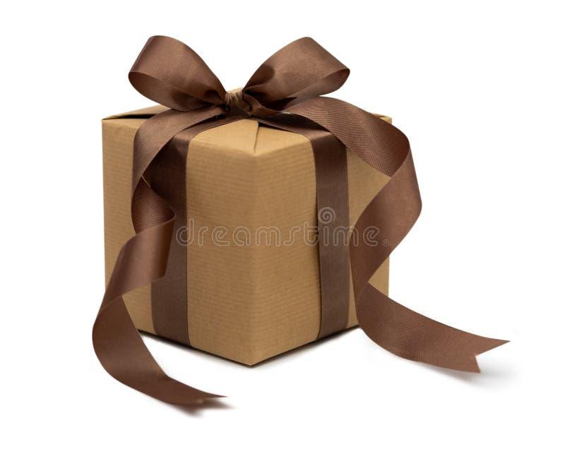 Caixa de presente do Natal isolada no fundo branco fotografia de stock
