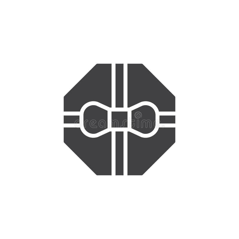 Caixa de presente do octógono com ícone do vetor da curva e da fita ilustração royalty free