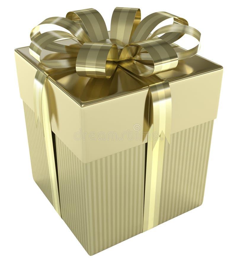 Caixa de presente do ouro fotos de stock royalty free