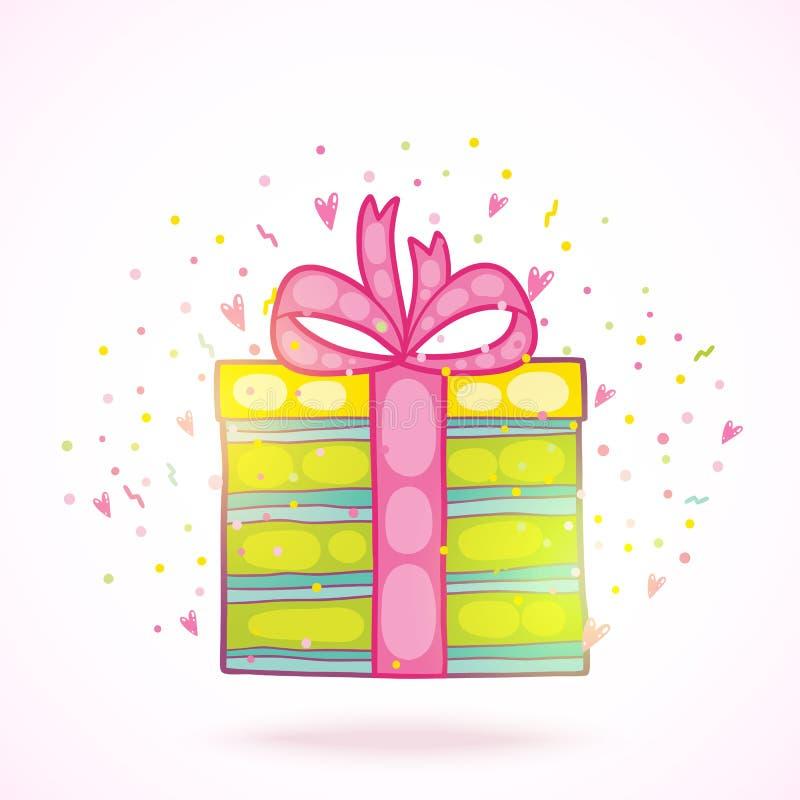 Caixa de presente do presente do feliz aniversario com confetes. ilustração stock