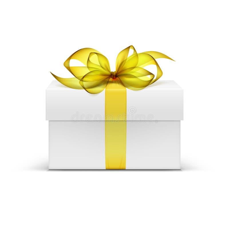 Caixa de presente do quadrado branco com fita e curva amarelas ilustração stock