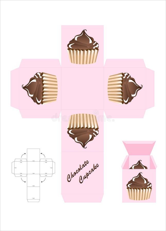 Caixa de presente do queque do chocolate ilustração royalty free