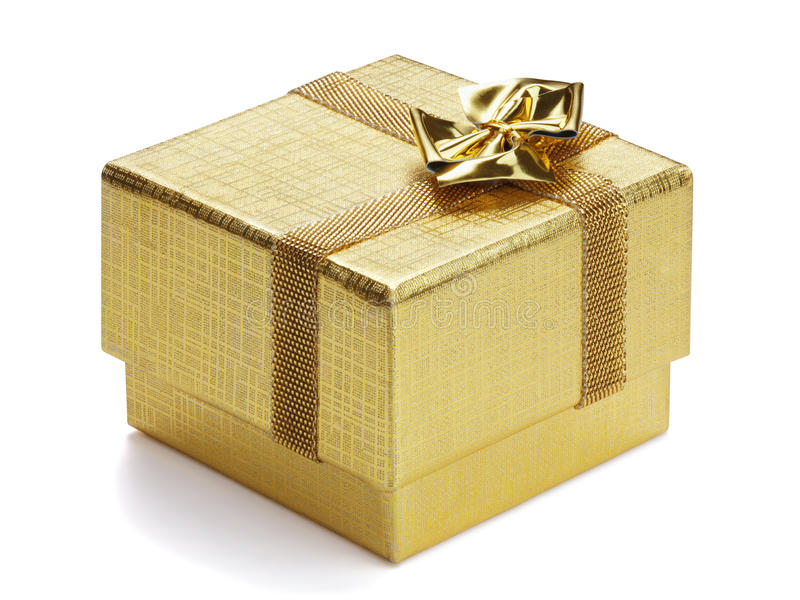 Caixa de presente dourada. foto de stock