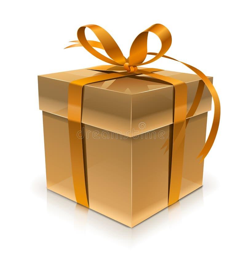 Caixa de presente dourada com curva ilustração do vetor