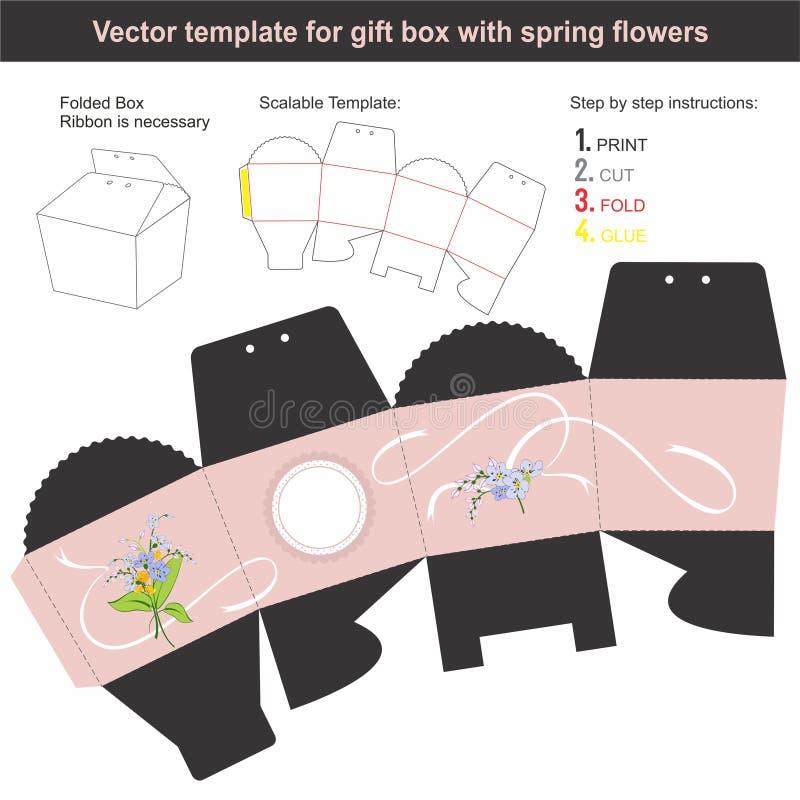A caixa de presente elegante na forma cônica com mola tirada mão floresce ilustração do vetor
