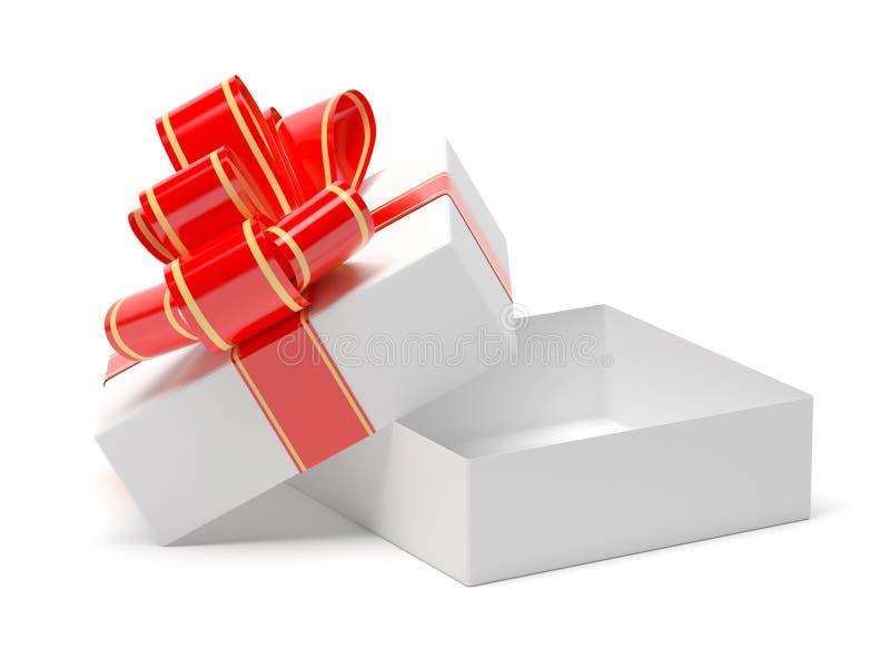 Caixa de presente envolvida com a fita vermelha da decoração Abra a caixa vazia ilustração da rendição 3d ilustração stock