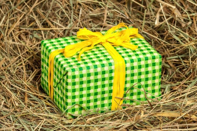 Caixa de presente envolvida no papel verde foto de stock