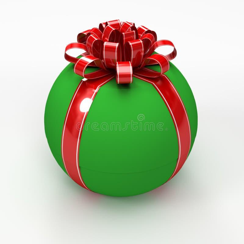 Caixa de presente esférica verde com fita vermelha ilustração do vetor