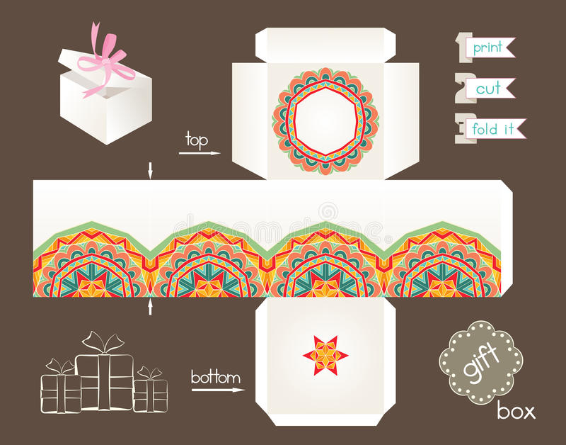 Caixa de presente imprimível com teste padrão étnico abstrato ilustração do vetor