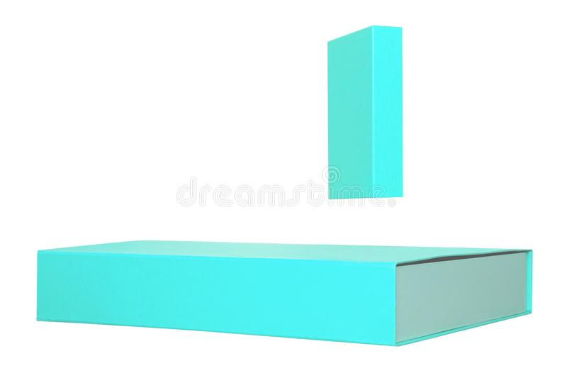 Caixa de presente isolada Close-up de duas caixas de presente de turquesa ou caixas de cart?o isoladas em um fundo branco Molde d fotografia de stock royalty free