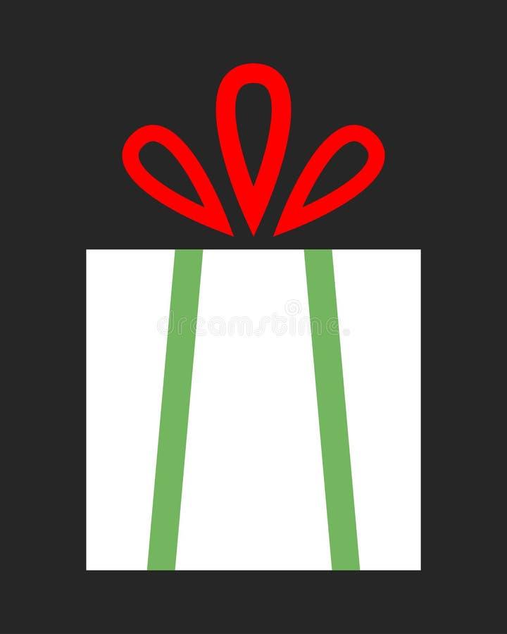 Caixa de presente lisa do ícone da cor no fundo escuro Uma surpresa para o feriado ilustração do vetor