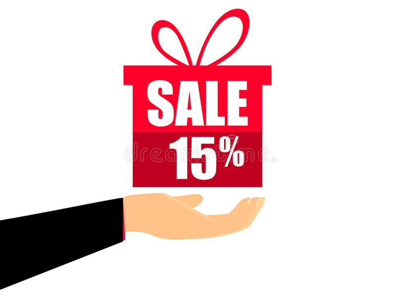 Caixa de presente na mão com um disconto de 15 por cento, estilo liso Feriado da oferta especial Vale para a venda Vetor ilustração do vetor