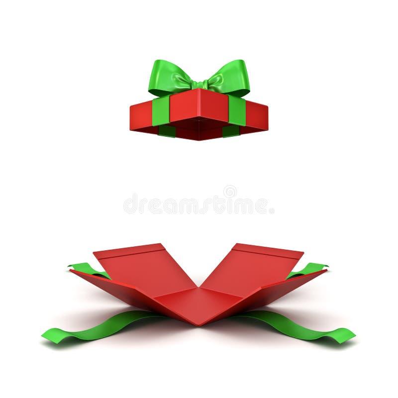 Caixa de presente de Natal aberta ou caixa atual vermelha com a curva verde da fita isolada no fundo branco ilustração stock