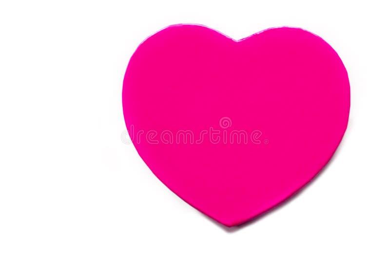 Caixa de presente no fundo do wite Purple Heart Presente do dia do ` s do Valentim fotografia de stock