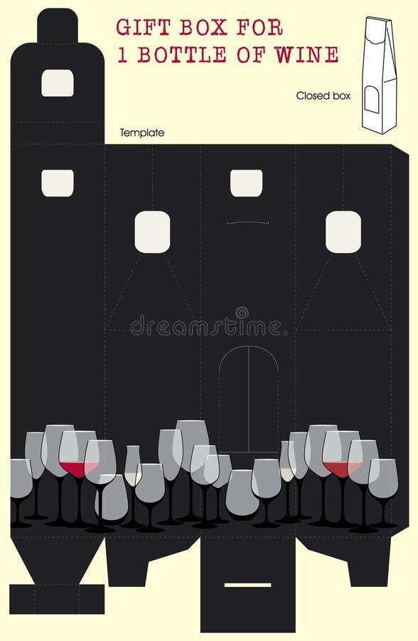 Caixa de presente para o frasco de vinho. ilustração do vetor
