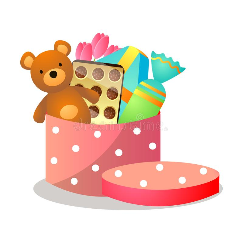 Caixa de presente pontilhada vermelha colorida com urso de peluche ilustração stock