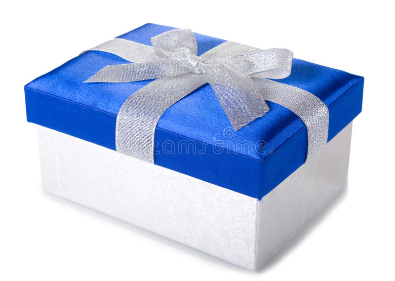 caixa de presente Prata-azul foto de stock