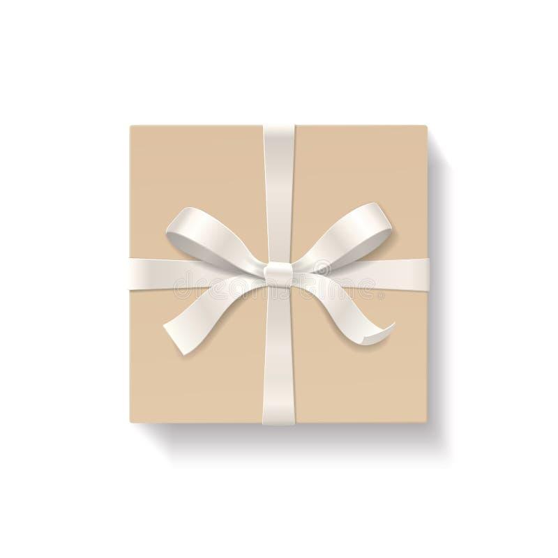 Caixa de presente quadrada com nó da curva da cor vermelha e fita isolada no fundo branco ilustração royalty free