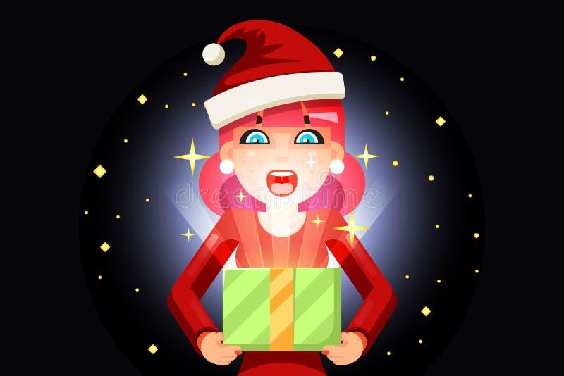 Caixa de presente surpreendida da luz da posse da menina da mulher do Natal desenhos animados bonitos fêmeas na pilha do ano novo ilustração stock