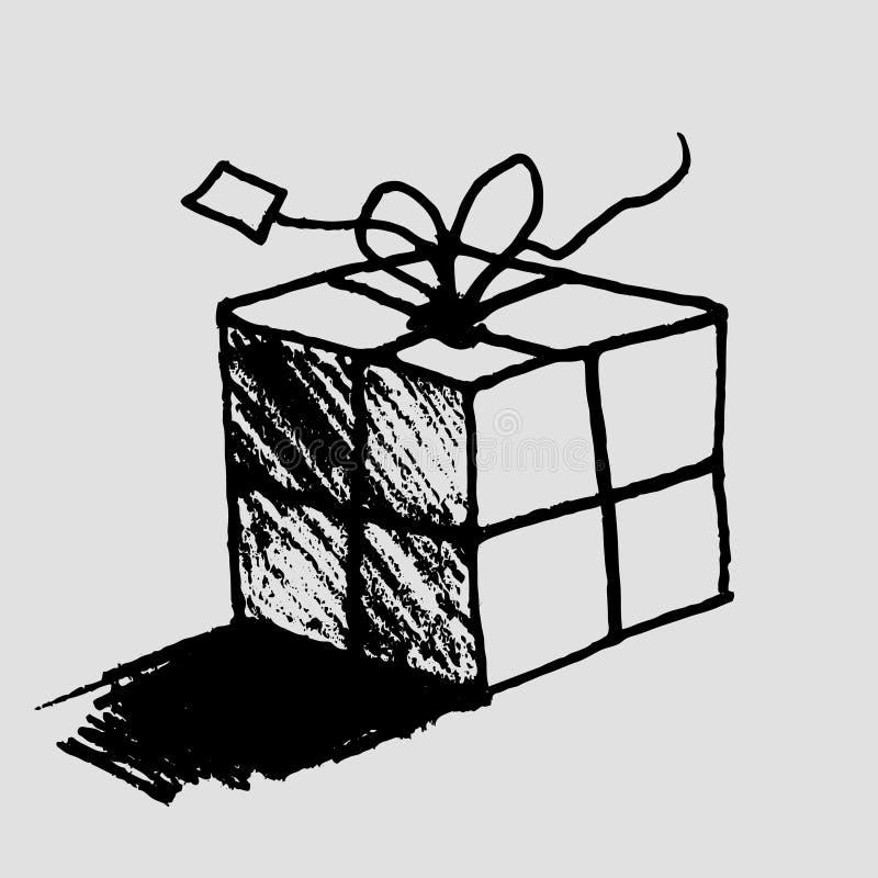 Caixa de presente tirada mão com etiqueta ilustração do vetor