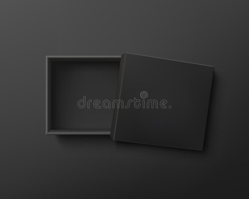 Caixa de presente vazia preta aberta no fundo escuro ilustração do vetor