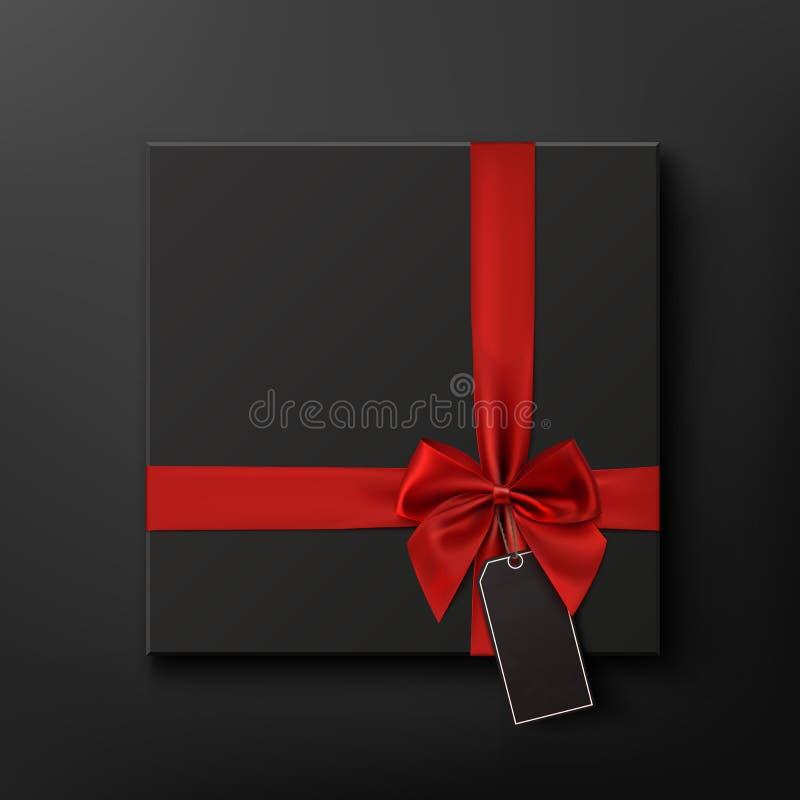 Caixa de presente vazia, preta com fita vermelha e preço ilustração stock