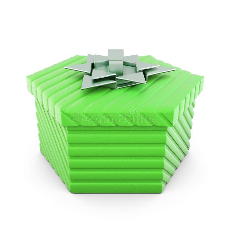 Caixa de presente verde com curva de prata rendição 3d ilustração royalty free