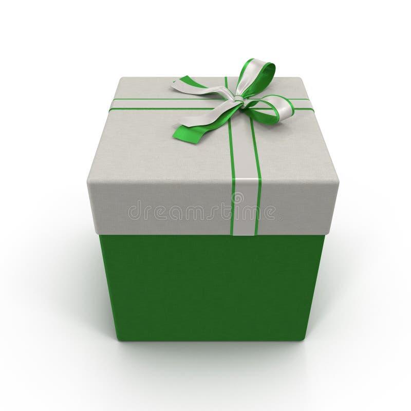Caixa de presente verde com a fita de prata no branco ilustração 3D ilustração do vetor