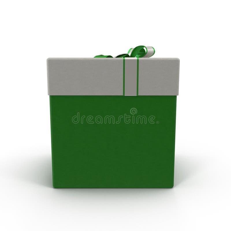 Caixa de presente verde com a fita de prata no branco ilustração 3D ilustração royalty free