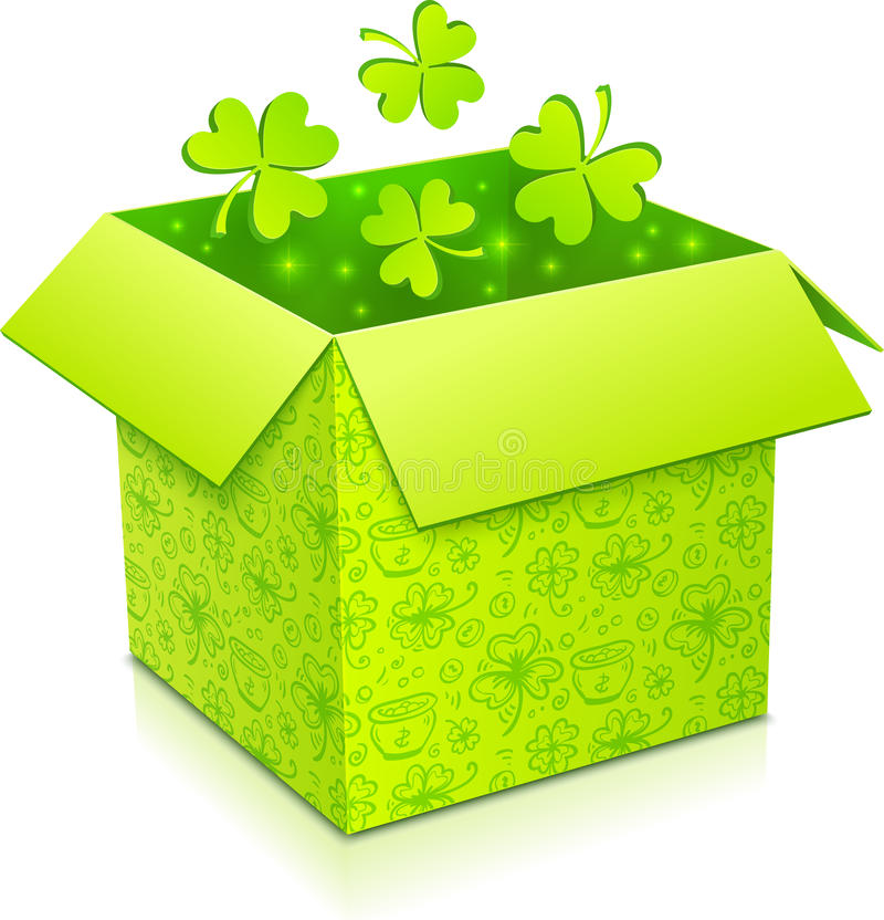 Caixa de presente verde do vetor com trevos para dentro ilustração stock
