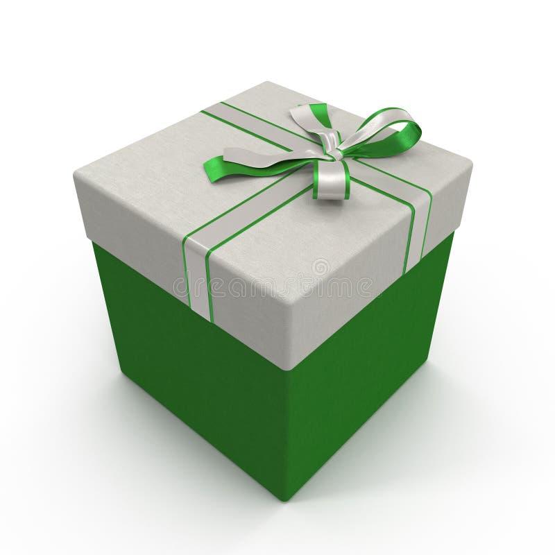 Caixa de presente verde isolada no branco ilustração 3D ilustração royalty free