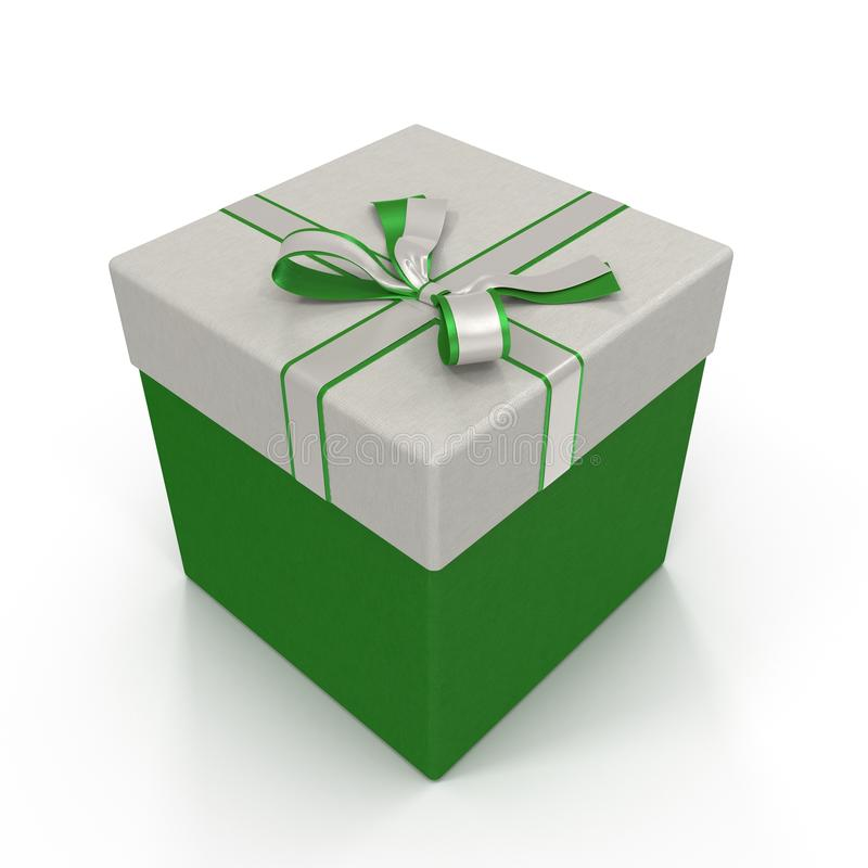 Caixa de presente verde isolada no branco ilustração 3D ilustração stock